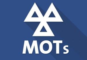 White MOT icon against blue background