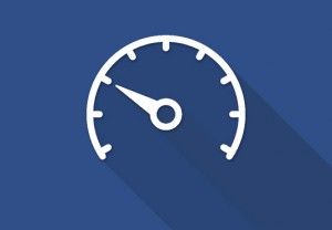 White dial icon against blue background